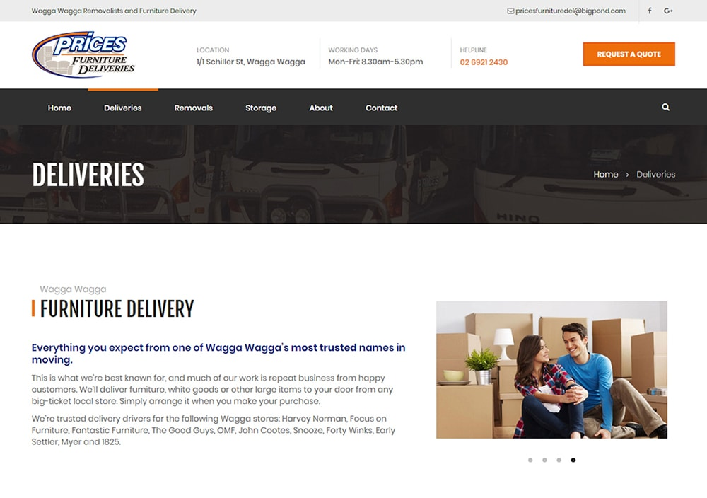 prices furniture deliveries website
