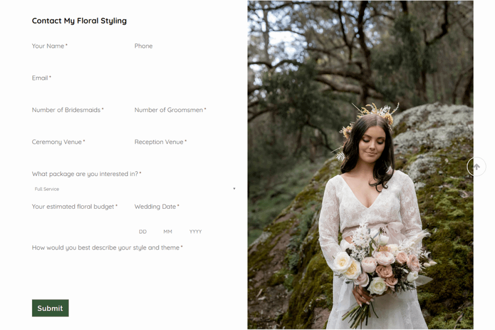 my floral styling web design